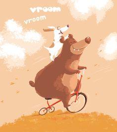 Illustration by Margarita Kukhtina Let's go! #autumn #illustration #bear #dog #gitkadraws