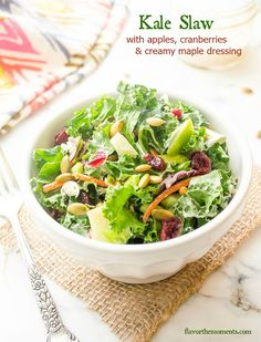 Kale Slaw with Apples, Cranberries, and Creamy Maple Dressing is a slaw-style salad with no cabbage, just kale! It's crunchy, chewy, hearty, and delicious!