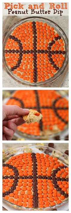I don't play basketball but, I do eat peanut butter. Ah ha ha Pick and Roll Peanut Butter Dip ~ Delicious, Creamy Peanut Butter Dip topped with Reese's Pieces! Dessert Dips, Köstliche Desserts, Delicious Desserts, Dessert Recipes, Yummy Food, Peanut Butter Dip, Holiday Recipes, Christmas Recipes, The Best