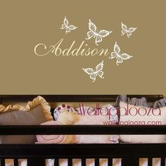 Girls Name Wall Decal - Butterfly Wall Decals - Personalized Name Vinyl Wall Art Decal - Butterfly Name Decal