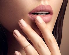 Beauty Fashion woman lips with natural Makeup and beige Nail polish. Matte lipstick and nails. Beauty girl face close up. Sexy lips, Manicure, Make up Matte Nail Polish, Nail Polish Colors, Nail Polishes, Beige Nails, Black Nails, Matte Black, Nail Polish Dry Faster, Batons Matte, French Tip Nails