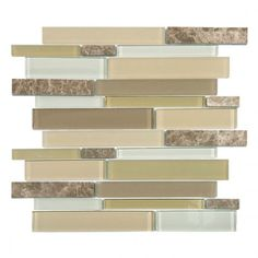 Mojave Almond Random Strip Glass and Marble Mosaic Tile