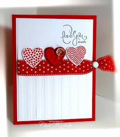 Stamps:  Hearts a Flutter, Well Scripted Paper:  Real Red, Whisper White Ink: Real Red, basic Black Accessories: polka dot ribbon, faceted vintage button, linen thread, brad Tools: Big Shot, stripes EF, Hearts A Flutter framelits collection