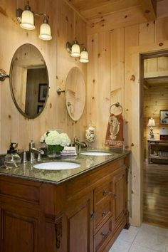 High Quality Cabin Bathrooms, Kid Bathrooms, Cabin Decorating, Mirror Ideas, Cabin  Fever, Cabin Ideas, Knotty Pine, Log Cabins, Cubicle