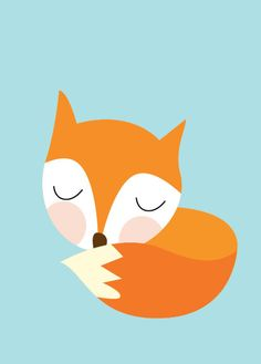 Baby Fox Sleeping Poster  Modern Animal by Sealandfriends on Etsy, $10.50