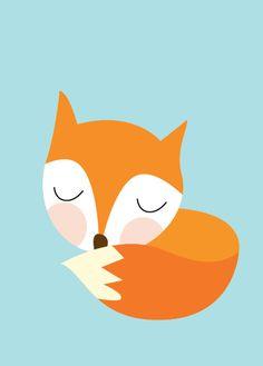 Baby Fox Sleeping Poster  Modern Animal by Sealandfriends on Etsy, $10.50