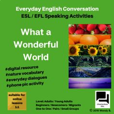 What a Wonderful World : Speaking Activities / Everyday English Conversation Everyday English, Online Lessons, What A Wonderful World, Writing Activities, Esl, Wonders Of The World, Vocabulary, Prompts, Colours