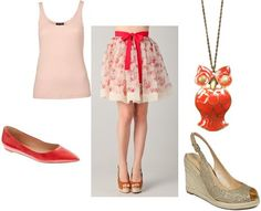 Floral skirt and red owl