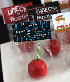 Wants and Wishes: Party planning: Wreck it Ralph Birthday Party-  cherry cake pops! Just add a green and white straw as the stick