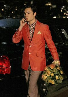 Chuck Bass in an orange jacket