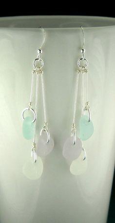 Beautiful, GENUINE Ocean-Tumbled Sea Glass Jewelry - Eco Friendly Sea Glass Beach Earrings In Sterling Silver And Rare Pastel Lavender, Aqua