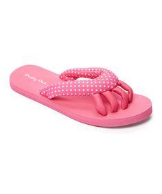 bbaf28143077 Pink   White Polka Dot Spa Flip Flop Short Gel Nails