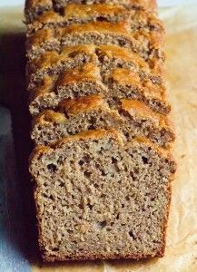 Whole Wheat Flour Banana Bread Recipe with applesauce, coconut oil, whole wheat or spelt flour, and honey or maple syrup. Healthy with rave reviews. | ifoodreal.com
