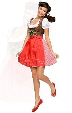 German short mini dirndl dress 3pcs. Pippa red 50cm $136
