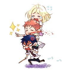 Blue Exorcist- Shiemi, Renzou, Rin.