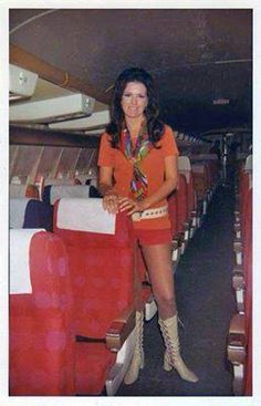 70' Style, SW air hostess.  Vintage flight attendants in mini skirts