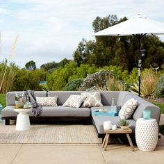 Our modular Tillary Outdoor Seating includes weighted back cushions that allow you to arrange your seating multiple ways, so you can face the pool by day and the patio by night. Built with sustainably harvested wood, this is seating you can feel good about.