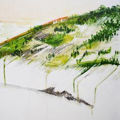 Annie Noa landscape painting details. Hill close-up. Modern minimalistic art. www.instagram.com/theannienoa