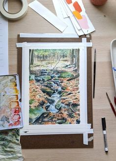 If you're lucky enough to live in the countryside, it can be fun to head out for an autumn walk and stop to paint what you see while you're there (or take a photo for later if it's cold!). Kim Everhard was inspired to paint this gorgeous woodland stream painting following a backpacking trip in Pennsylvania. Find out how to paint a woodland stream with Kim's step-by-step guide. Watercolor Galaxy, Easy Watercolor, Autumn Inspiration, Painting Inspiration, Autumn Feeling, Leaf Projects, Paint Run, Leaf Outline, Autumn Walks