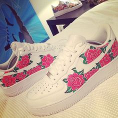 Custom pair of floral Nike Air Force 1's