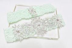 Lace Garter set mint green garter set wedding bridal by mirino