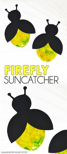 Eric Carle Inspired Firefly Suncatcher Craft - Crafts for kids - Easy Crafts For Kids, Projects For Kids, Art For Kids, Art Projects, Summer Crafts For Toddlers, Camping Crafts For Kids, Camping Games, Camping Gear, Bug Crafts Kids
