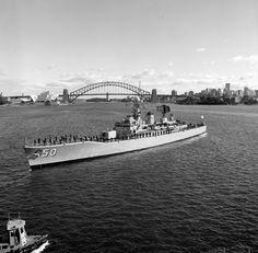 HMAS Swan DE 50 River Class Destroyer Escort Royal Australian Navy, Navy Man, Submarines, Aircraft Carrier, Sydney Harbour Bridge, Battleship, Past, Swan, History