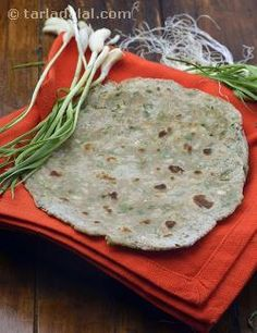Spring is a wonderful season, for it brings us rare treats such as green garlic! Green garlic has a milder flavour compared to dried ones, and this makes it appealing to even those who are not very fond of garlic. We have made use of this wonderful ingredient to make delicious multi-grain rotis, which are healthy, satiating and mouth-wateringly tasty.