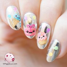Birthday balloons nail art