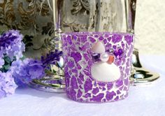 Lilac Candle Holder Mosaic Tea Light Holder lilac by LonasART
