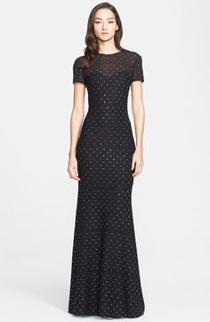 St. John Collection Embellished Shimmer Knit Gown available at #Nordstrom