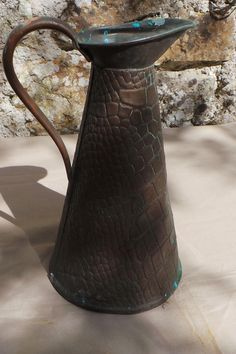Antique Copper Water Jug Pitcher Crocodile Skin Hammering Dented C 1890 Verdigris Quality Antique Copper Direct from France by CopperAntiquity on Etsy