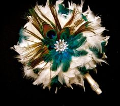 It all depends on the types of feathers you use and how the bouquet is decorated. For instance, for an elegant wedding, incorporate pearls and other jewelry into the bouquet decorations.
