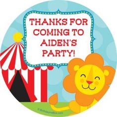 Circus Personalized Stickers - Customized Party Supplies & Favors from Birthday in a Box