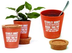 innovative design of Stanley Honey, where honey is packaged in clay pots with stylish cork lids.via Lushlee