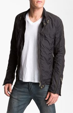 DIESEL® 'Jurlo' Trim Fit Nylon Moto Jacket available at #Nordstrom-love this and going to buy it today!!!!!!