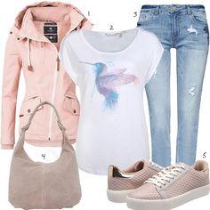 Rosa Damenoutfit mit Shirt, Jacke und Sneakern (w1024) #rosa #shirt #jeans #jacke #outfit #style #fashion #womensfashion #womensstyle #womenswear #clothing #frauenmode #damenmode #handtasche #inspiration #frauenoutfit #damenoutfit