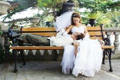 """Buy the royalty-free Stock image """"Bride and groom on the bench"""" online ✓ All image rights included ✓ High resolution picture for print, web & Social Med. High Resolution Picture, Wedding Photoshoot, Groom, Bride, Couples, Wedding Dresses, Image, Fashion, Ideas"""