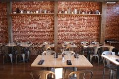 cafe design ideas with wood and exposed brick - Google Search
