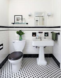 Vintage Bathroom Tile Ideas Lovely 31 Retro Black White Bathroom Floor Tile Ideas and Pictures Black And White Bathroom Floor, Black White Bathrooms, White Bathroom Tiles, Bathroom Tile Designs, Bathroom Floor Tiles, Bathroom Toilets, Kitchen Floor, Wall Tiles, Subway Tiles