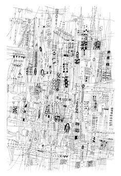 City Life - City Drawing line drawing Archival print of original drawing giclee landscape art  city art  black and white art 12 x 18 inches. $25.00, via Etsy.