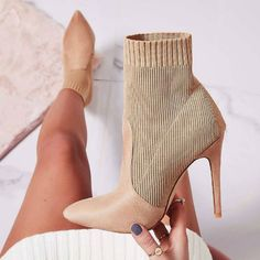 These eye catching nude mid calf sock heels, feature a knit fabric with a pointy close toe silhouette and a inch stiletto heel. These eye catching nude mid calf sock heels, feature a knit fabric with a pointy close toe silhouette and a inch stiletto heel. Stilettos, Pumps Heels, Stiletto Heels, High Heels, Strappy Heels, Bootie Socks, Calf Socks, Bootie Heels, Socks And Heels