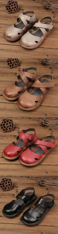 US$45.36 SOCOFY Hollow Out Pure Color Handmade Leather Retro Sandals