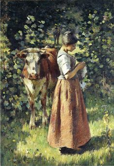 Theodore Robinson (American, 1852-1896), [Old Lyme Colony, Impressionism] The Cowherd, 1888.