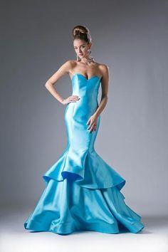 Strapless Tiered Mermaid Gown by Cinderella Divine 13480 Satin Gown, Satin Dresses, Strapless Dress Formal, Strapless Corset, Blue Dresses, Formal Dresses, Mermaid Gown Prom, Mermaid Evening Gown, Mermaid Skirt