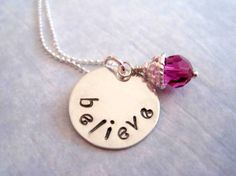 Handstamped believe necklace in sterling silver by by marybeadz, $30.00