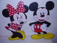figuras de Minie y Mickey pintadas a mano