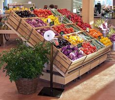 Now that's an attractive display of fruits and veggies! ~ Produce store fixtures & retail displays - Innovative Display Solutions