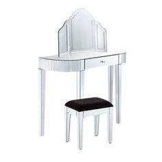 Bevel Edged Mirrored Dressing Table Set - bedroom