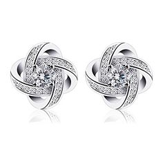 B.Catcher Women Earrings Studs Sterling Silver Cubic Zirconia Gemini Earring Sets